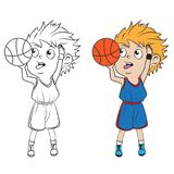 Cartoon boy playing basketball. Both in separate layers for easy editing and coloring Royalty Free Stock Photos