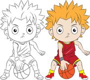 Cartoon boy playing basketball. Both in separate layers for easy editing and coloring Stock Photo