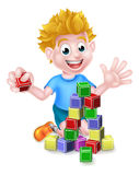 Cartoon Boy Playing With Building Blocks Royalty Free Stock Photos