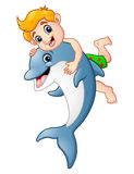 Cartoon boy playing with dolphin. Illustration of Cartoon boy playing with dolphin Stock Photos