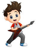 Cartoon boy playing electric guitar Royalty Free Stock Photos