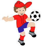 Cartoon Boy Playing Football. Young child cartoon character playing with his football, wearing his soccer kit. Isolated on a white background royalty free illustration