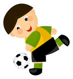 Cartoon boy playing football Stock Images