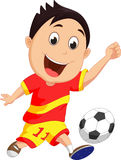Cartoon boy playing football Stock Photography