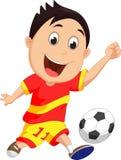 Cartoon boy playing football Stock Photography