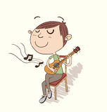 Cartoon boy playing guitar. Royalty Free Stock Images