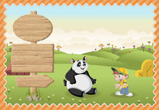 Cartoon boy playing with a panda bear on a green park. Stock Images