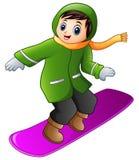 Cartoon boy playing snowboard. Illustration of Cartoon boy playing snowboard Stock Photos