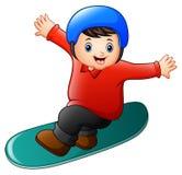 Cartoon boy playing snowboard. Illustration of Cartoon boy playing snowboard Royalty Free Stock Images