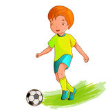 Cartoon boy playing soccer Stock Image