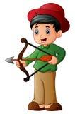 Cartoon boy playing sport archery. Illustration of Cartoon boy playing sport archery Stock Photo