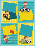 Cartoon boy playing. Sports and toys. Card with a cute happy cartoon boy playing. Sports and toys Royalty Free Stock Photos
