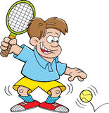 Cartoon boy playing tennis Royalty Free Stock Photo