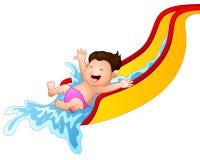 Cartoon boy playing waterslide Royalty Free Stock Photography