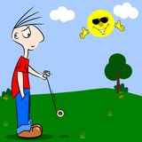 A cartoon boy playing with a yo-yo Royalty Free Stock Image