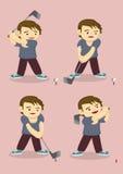 Cartoon Boy Plays Golf Vector Illustration. Cartoon character boy learning to swing iron golf club and hit golf ball. Vector illustration isolated on peach color Royalty Free Stock Photo