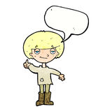 cartoon boy in poor clothing giving thumbs up symbol with speech Royalty Free Stock Images