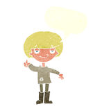 cartoon boy in poor clothing giving thumbs up symbol with speech Royalty Free Stock Image