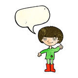 cartoon boy in poor clothing giving thumbs up symbol with speech Royalty Free Stock Photo