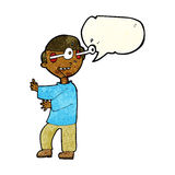Cartoon boy with popping out eyes with speech bubble Royalty Free Stock Image