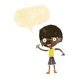 Cartoon boy with positive attitude with speech bubble Stock Photo