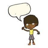 cartoon boy with positive attitude with speech bubble Stock Photos