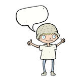 Cartoon boy with positive attitude with speech bubble Royalty Free Stock Images