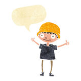 Cartoon boy with positive attitude with speech bubble Stock Image