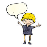 Cartoon boy with positive attitude with speech bubble Stock Photography