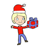 Cartoon boy with present Royalty Free Stock Images