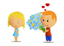 Cartoon boy present flowers to girl. Vector ilustration of couple. In love boy in red t-shirt propose flowers to girl in blue dress Stock Image