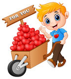 Cartoon boy pushing a pile of hearts in wood trolley for you Royalty Free Stock Photos