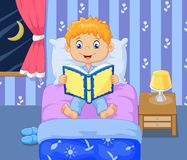 Cartoon boy reading bed time story. Illustration of Cartoon little boy reading bed time story Royalty Free Stock Images