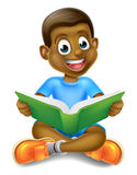 Cartoon Boy Reading Book Stock Photos