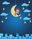 Cartoon boy reading a book on the moon. Royalty Free Stock Image