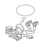 Cartoon Boy Reading Stock Photo