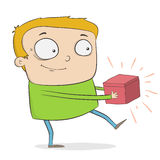 Cartoon boy with a red box Royalty Free Stock Images