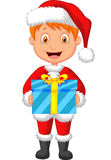 Cartoon a boy in red clothes holding gift Stock Images