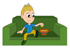 Cartoon boy relaxing Royalty Free Stock Photos
