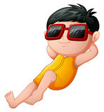 Cartoon boy relaxing wearing sunglasses Stock Images