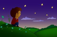 Cartoon  boy rested in night field and hills. Cartoon boy sitting rested in night field and hills with sunrise over forest Royalty Free Stock Photography