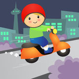 Cartoon Boy ride Motorcycle Scooter. Vector Illustration. Cartoon Boy ride Motorcycle Scooter with City and Bush Background. Vector Illustration vector illustration