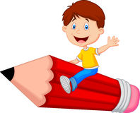 Cartoon boy riding flying pencil Stock Images