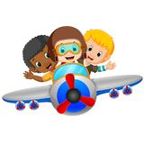 Cartoon boy riding flying plane. Illustration of cartoon boy riding flying plane Royalty Free Stock Photography