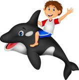 Cartoon Boy riding orca. Illustration of Cartoon Boy riding orca Royalty Free Stock Photos