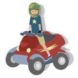 Cartoon boy riding quad Royalty Free Stock Photos