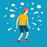 Cartoon boy riding on skateboard Stock Images
