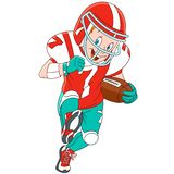 Cartoon boy rugby player Stock Image