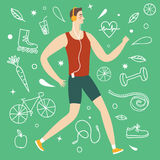 Cartoon boy runner. Including doodle decorative elements such as food, sport equipment and health symbols. Healthy lifestyle illustration for your design stock illustration