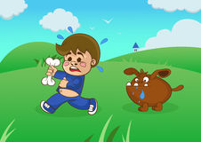 Cartoon boy running away from a starving dog. Royalty Free Stock Image